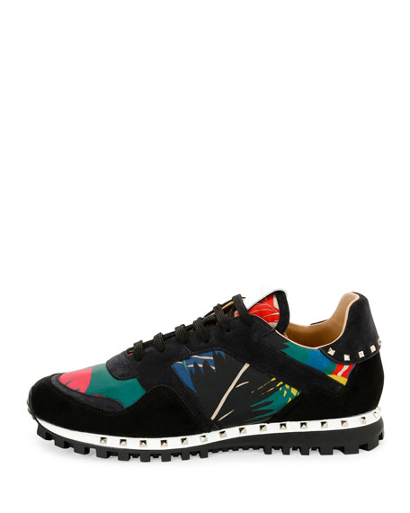 Tropical Nylon & Suede Trainer Sneaker, Multicolor