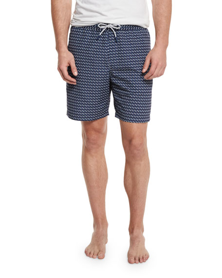 Geometric-Print Swim Trunks