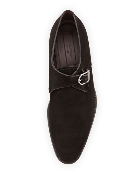 Monk-Strap Suede Shoe, Black