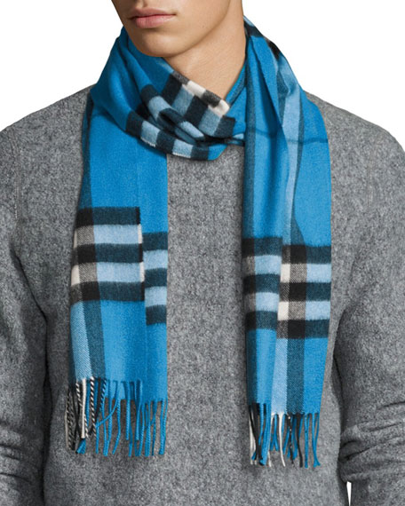 Burberry Men's Cashmere Giant Icon Scarf, Cornflower Blue