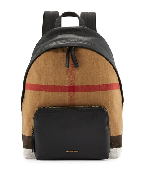Burberry Abbeydale Check Canvas & Leather Backpack, Camel/Black