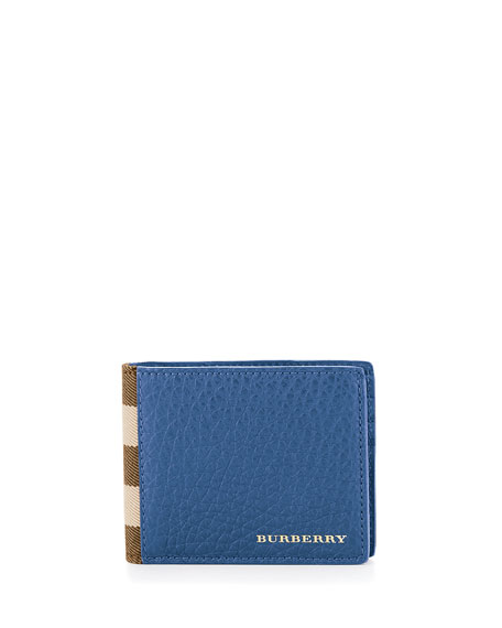 Burberry House Check & Leather Hipfold Wallet, Storm