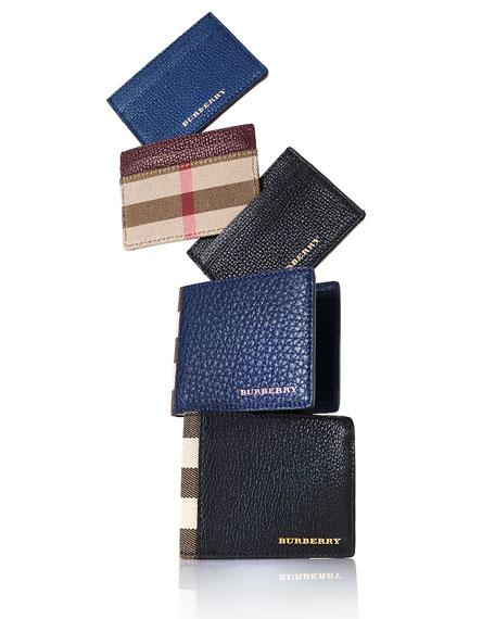 Sandon House Check & Leather Card Case, Storm Blue