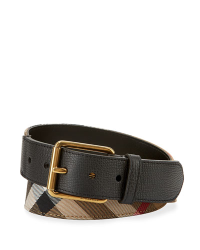 Mark House Check Belt, Camel/Black