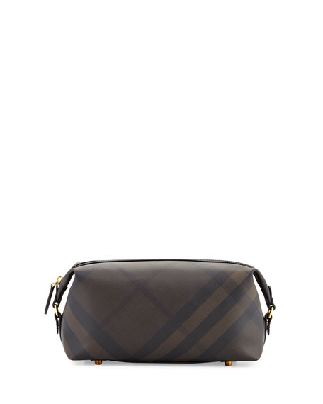 Burberry Lance London Check Travel Toiletry Case, Chocolate