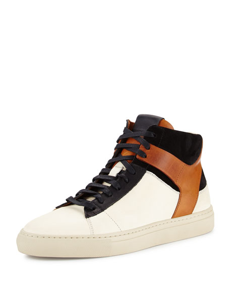 Owen Men's High-Top Sneaker, Off White/Black/Brown