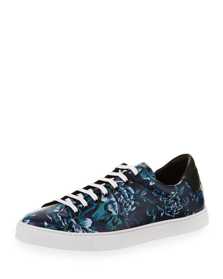 Burberry Albert Floral-Print Leather Low-Top Sneakers, Ink