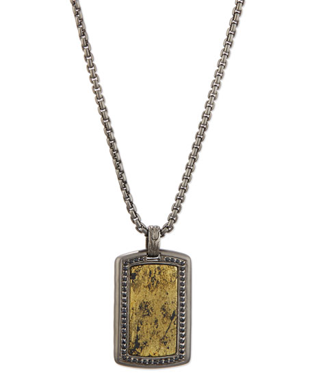Men's Batu Classic Chain Silver Dog Tag Pendant with Pyrite