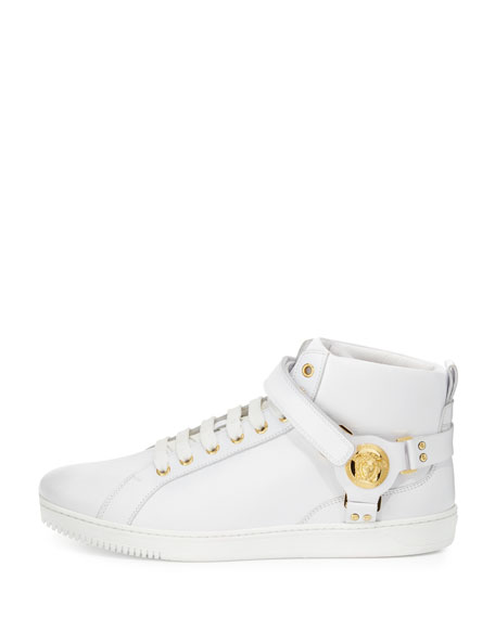 Leather Harness Mid-Top Sneaker with Gold Medallion, White