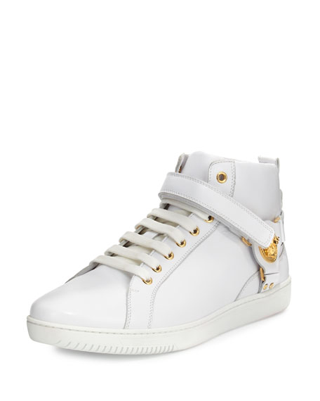 Versace Leather Harness Mid-Top Sneaker with Gold Medallion,