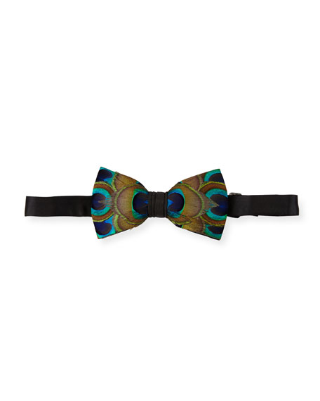 Brackish Bowties Harrel Peacock-Feather Bow Tie