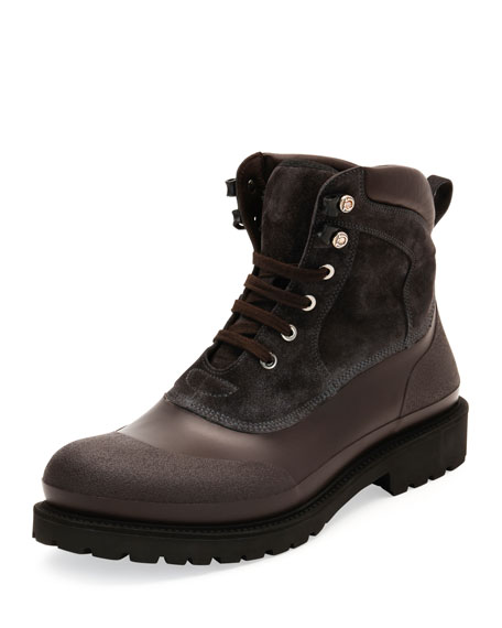 Salvatore Ferragamo Forest All-Weather Hiking Boot, Gray/Brown