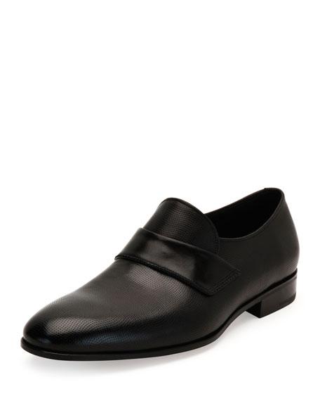 Salvatore Ferragamo Semi-Perforated Calfskin Loafer, Black
