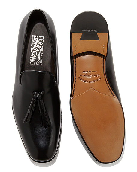 Calfskin Tassel Loafer, Black