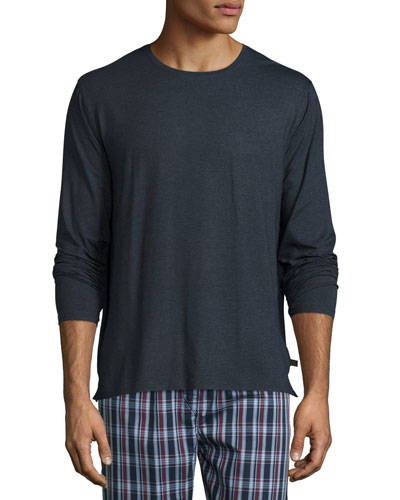 Long-Sleeve Cotton T-Shirt, Charcoal