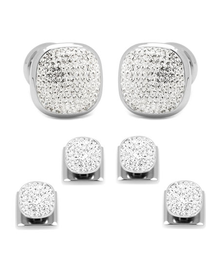 Cufflinks Inc. Black Preciosa Pave Cuff Links & Stud Set wpMQlSz
