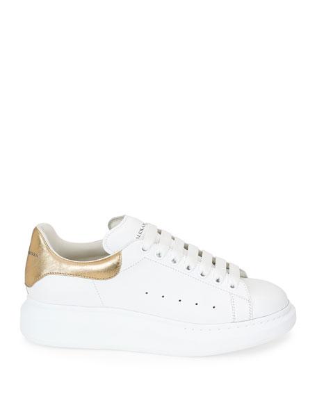 Men's Leather Low-Top Sneakers w/Golden Heel