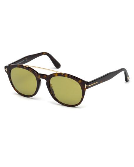TOM FORD Newman Round Shiny Acetate Sunglasses, Classic