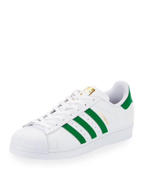 Adidas Men's Superstar Classic Leather Sneaker, White/Green