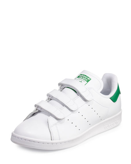 Adidas Men's Stan Smith Triple-Strap Sneaker, White/Green