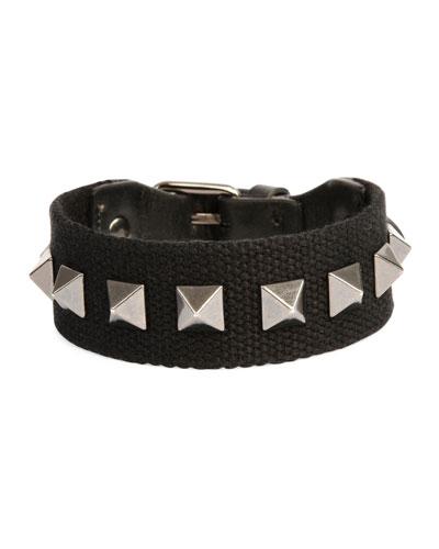 Men's Nylon Rockstud Bracelet, Black