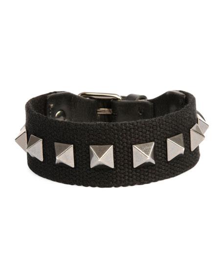 Valentino Garavani Men's Nylon Rockstud Bracelet, Black