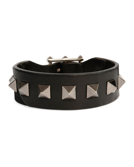 Valentino Garavani Men's Rockstud Camo Leather Bracelet, Black