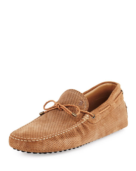 Tod's Perforated Suede Driver, Tan