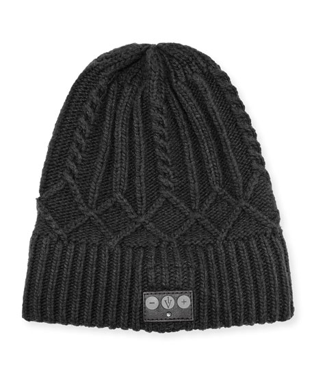 Cashmere Cable-Knit Bluetooth Beanie w/ Built-In Headset