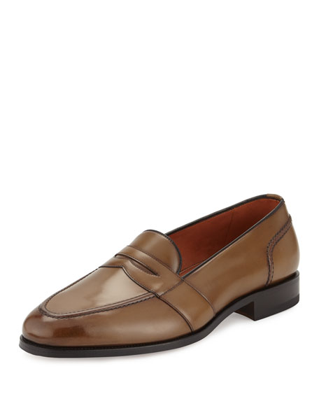 Taylor Burnished Leather Penny Loafer, Brown