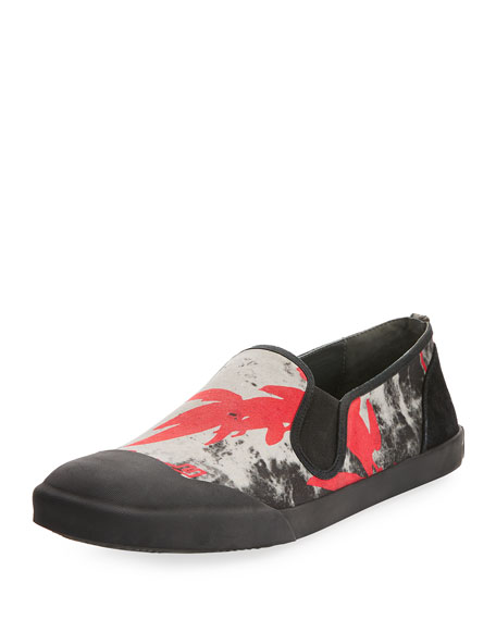 Lanvin Men's Printed Canvas Slip-On Sneaker