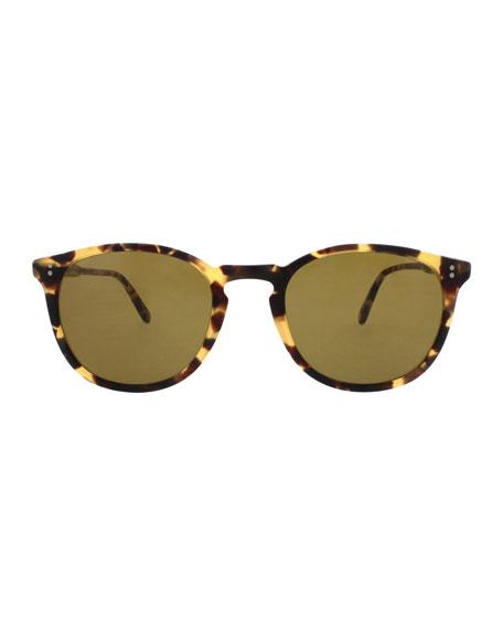 Garrett Leight Kinney 49 Square Sunglasses, Matte Dark Tortoise