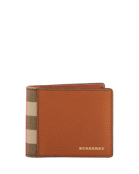 Burberry Grained Leather & House Check Hipfold Wallet,