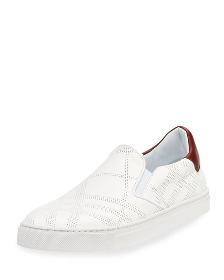 Burberry Copford Perforated Check Leather Slip-On Sneaker, White