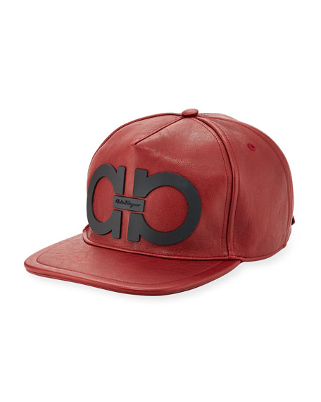 Gancini Faux-Leather Baseball Cap, Red/Black