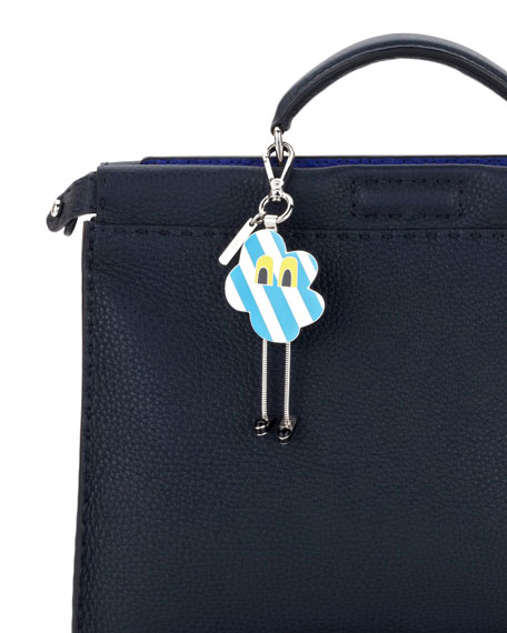 Cloud Eyes Striped Metal Charm for Men's Bag, Blue/White