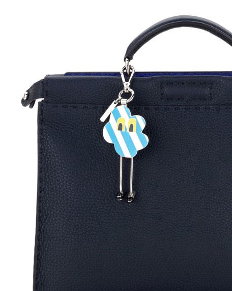 Cloud Eyes Striped Metal Charm for Men's Bag, Blue/White