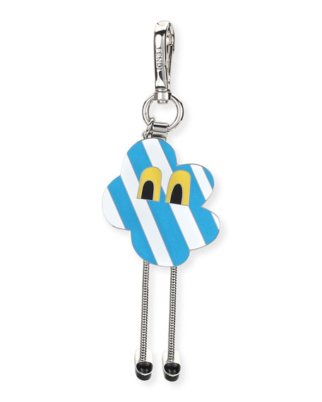 Fendi Cloud Eyes Striped Metal Charm for Mens Bag, Blue/White