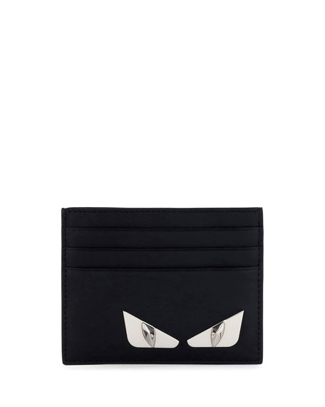 Fendi Monster Eyes Leather Card Case, Black