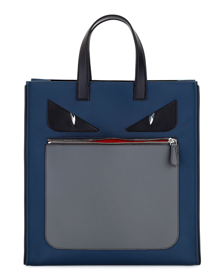 Fendi Monster Neoprene & Leather Tote Bag, Blue/Gray