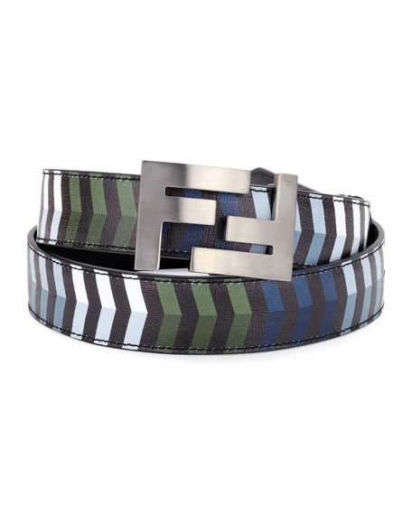 Fendi Double-F Buckle Striped Leather Belt and Matching