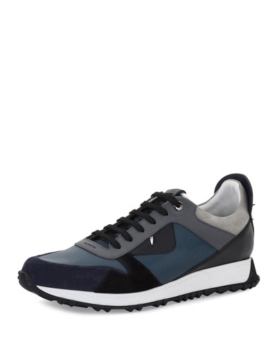 Men's Monster Suede & Leather Trainer, Blue/Gray
