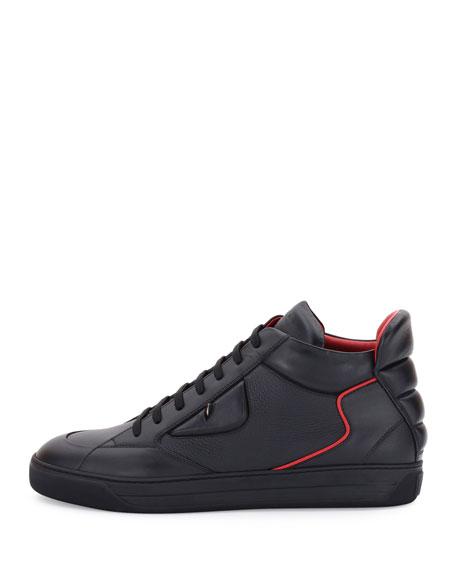 Monster Eyes Leather Mid-Top Sneaker, Black