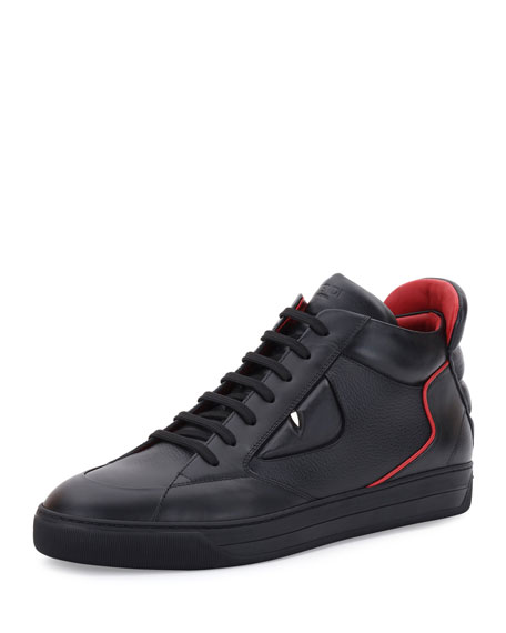 Fendi Monster Eyes Leather Mid-Top Sneaker, Black