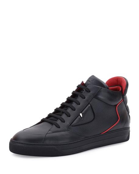 Fendi Monster Eyes Leather Mid-Top Sneaker, Black