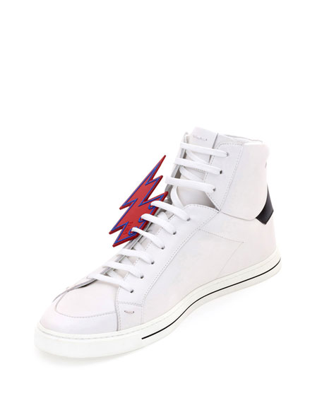 Lightning Bolt Leather High-Top Sneakers, White