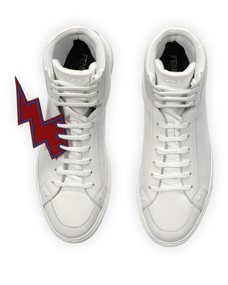 Fendi Lightning Bolt Leather High-Top Sneakers, White