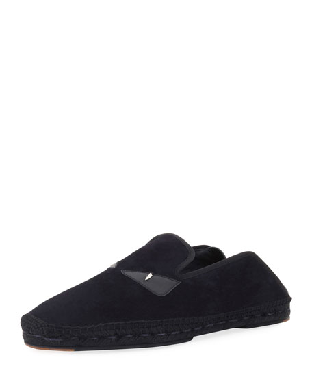 Fendi Monster Eyes Suede & Leather Espadrille, Black