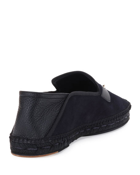 Monster Eyes Suede & Leather Espadrille, Black