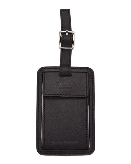 Men's Leather Luggage ID Tag, Bourbon